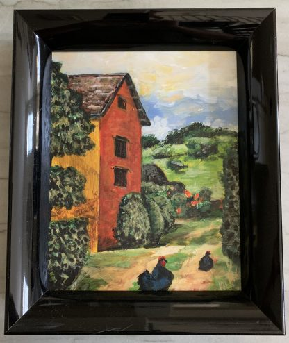 Framed in contemporary black lacquer frame